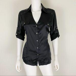 WHBM Size 10 Black Silk Roll Tab Blouse EUC